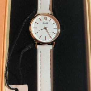 Cluse leather white strap watch CL50030